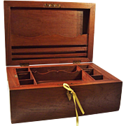 Large Wood Stationery / Documents Box with Brass Inlay & Key