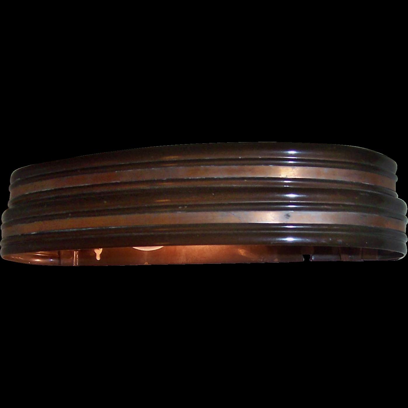 Art Deco Electrolite Wall / Headboard Lamp Brown & Copper Trim