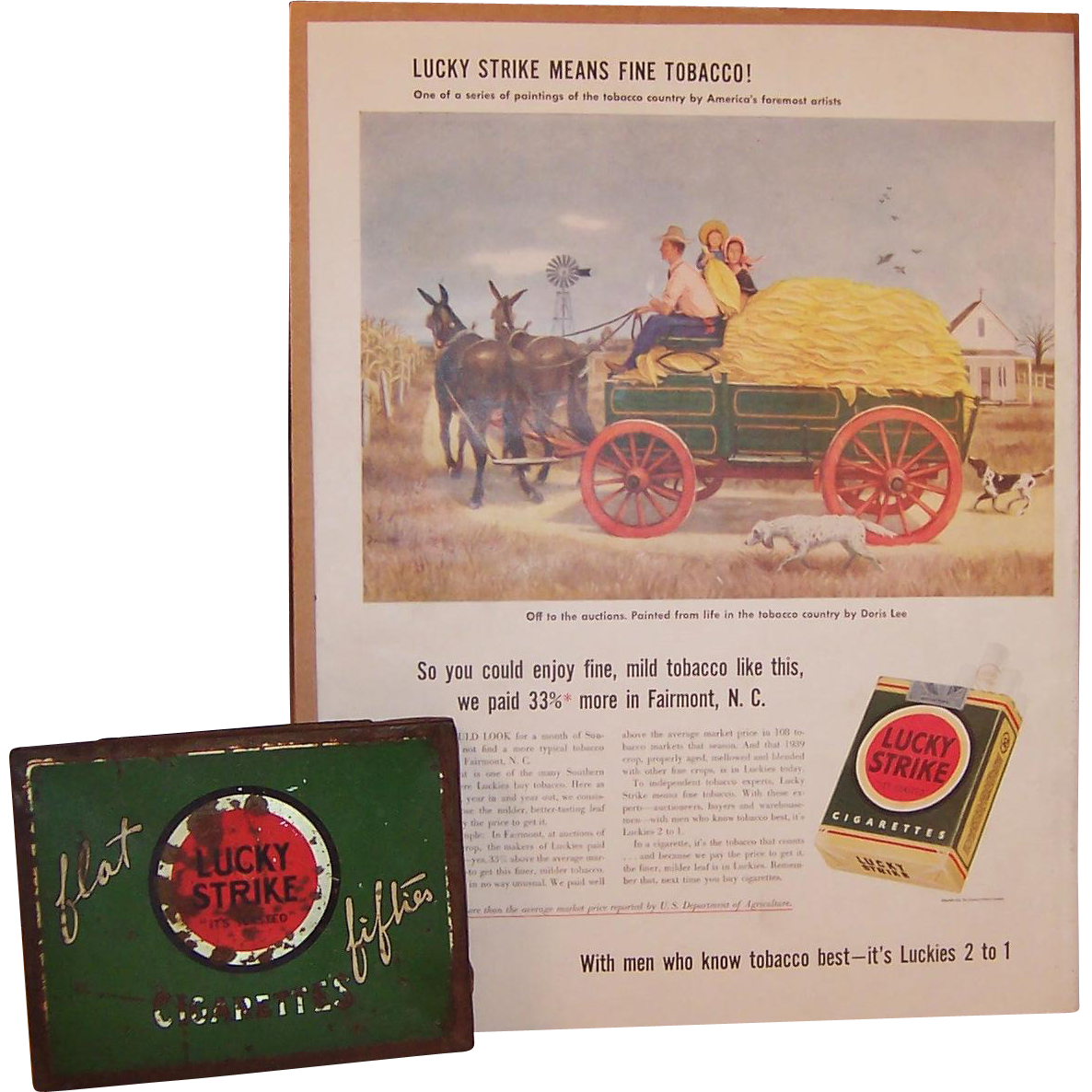Lucky Strike Flat Fifties Cigarette Tin Box & Vintage Ad