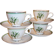 Homer Laughlin: Eggshell Nautilus: Lily of the Valley Footed Cups and Saucers