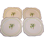 "SET OF FOUR: Homer Laughlin Lily of the Valley 8"" Square Luncheon (or Salad) Plates"