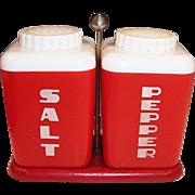 1950's Large Lustro-Ware Red Salt Pepper Shakers & Holder