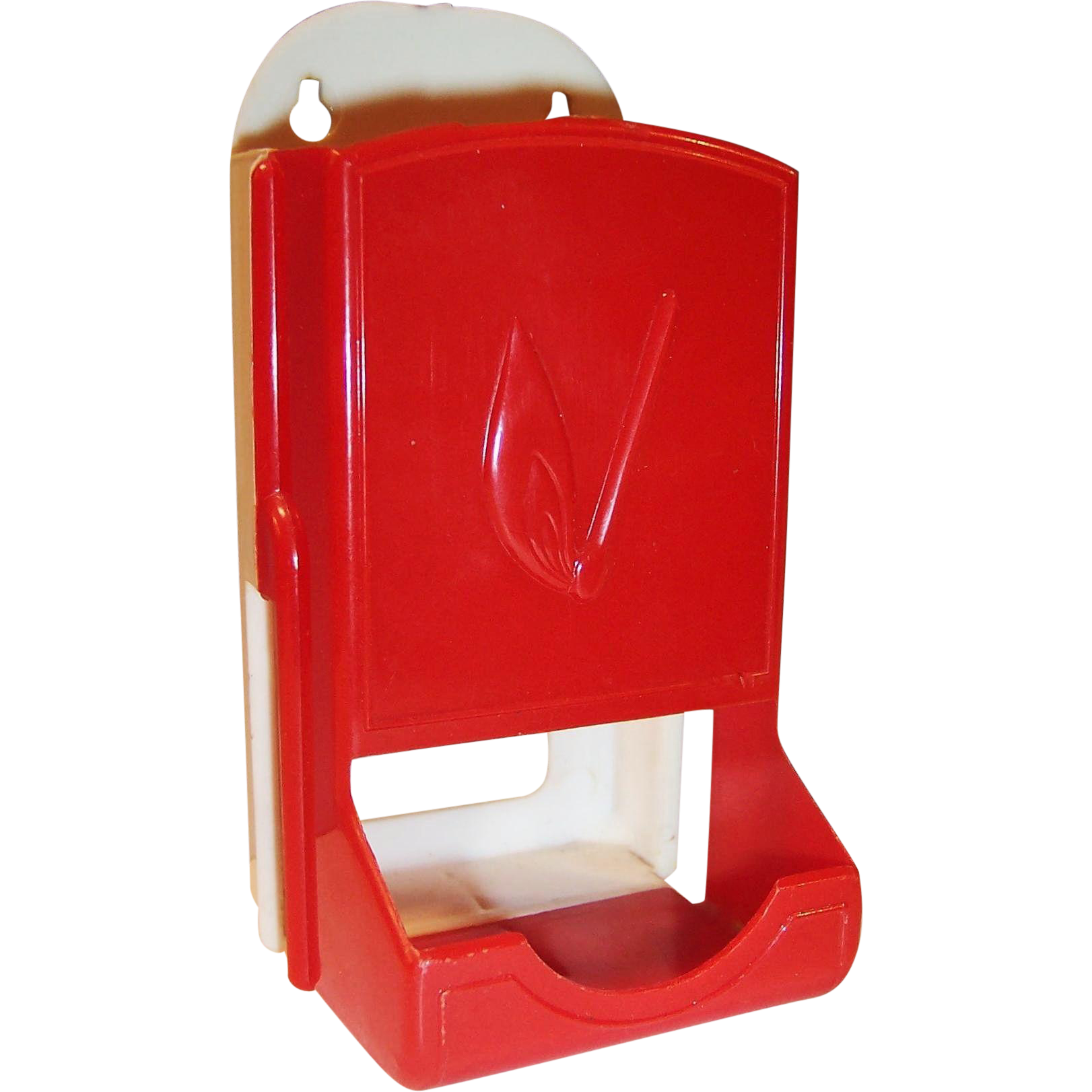 Vintage Plastic Red & White Match Box Holder