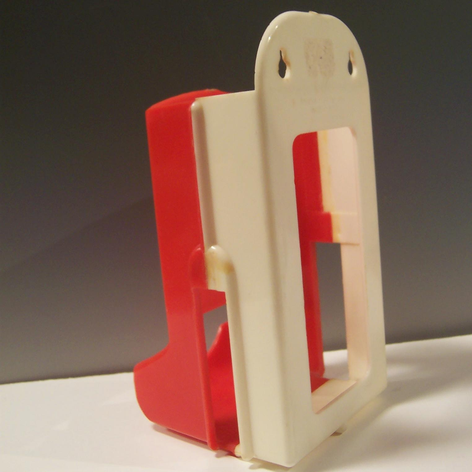 Vintage Plastic Red White Match Box Holder From