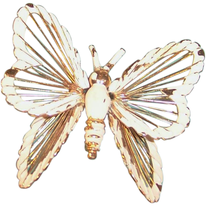 MONET White Enamel Butterfly Brooch