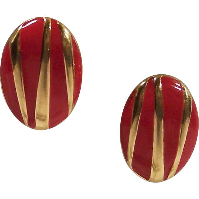 Vintage Monet Red & Gold Enamel Earrings