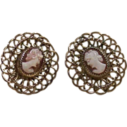 H.G. 12k Gold Filled Cameo Earrings
