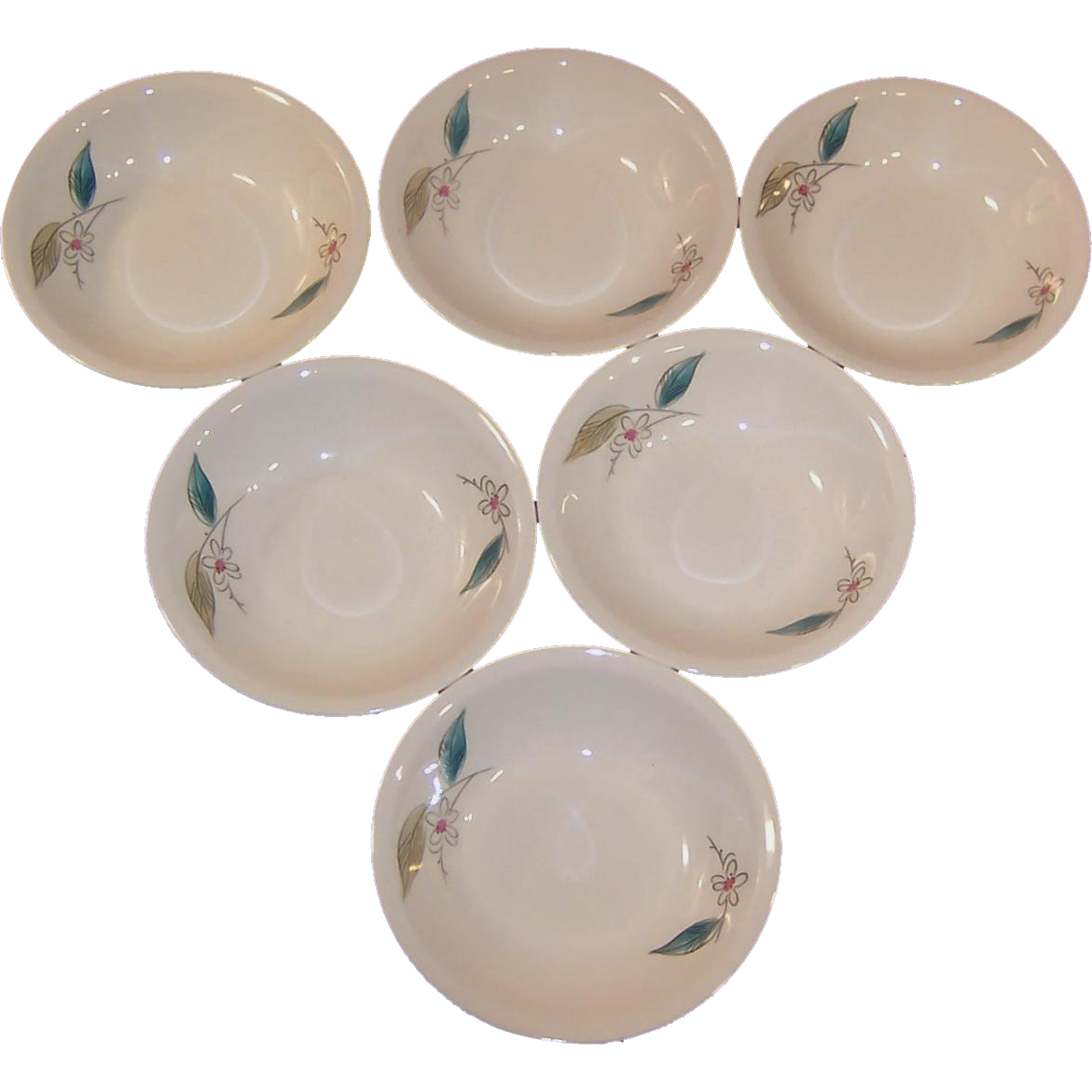 "Set of SIX: 1950's Paden City Biscayne Fruit / Dessert 5 1/4"" Bowls"