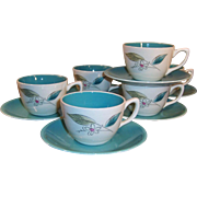 Set of SIX: 1950's Paden City Biscayne Cups & Saucers