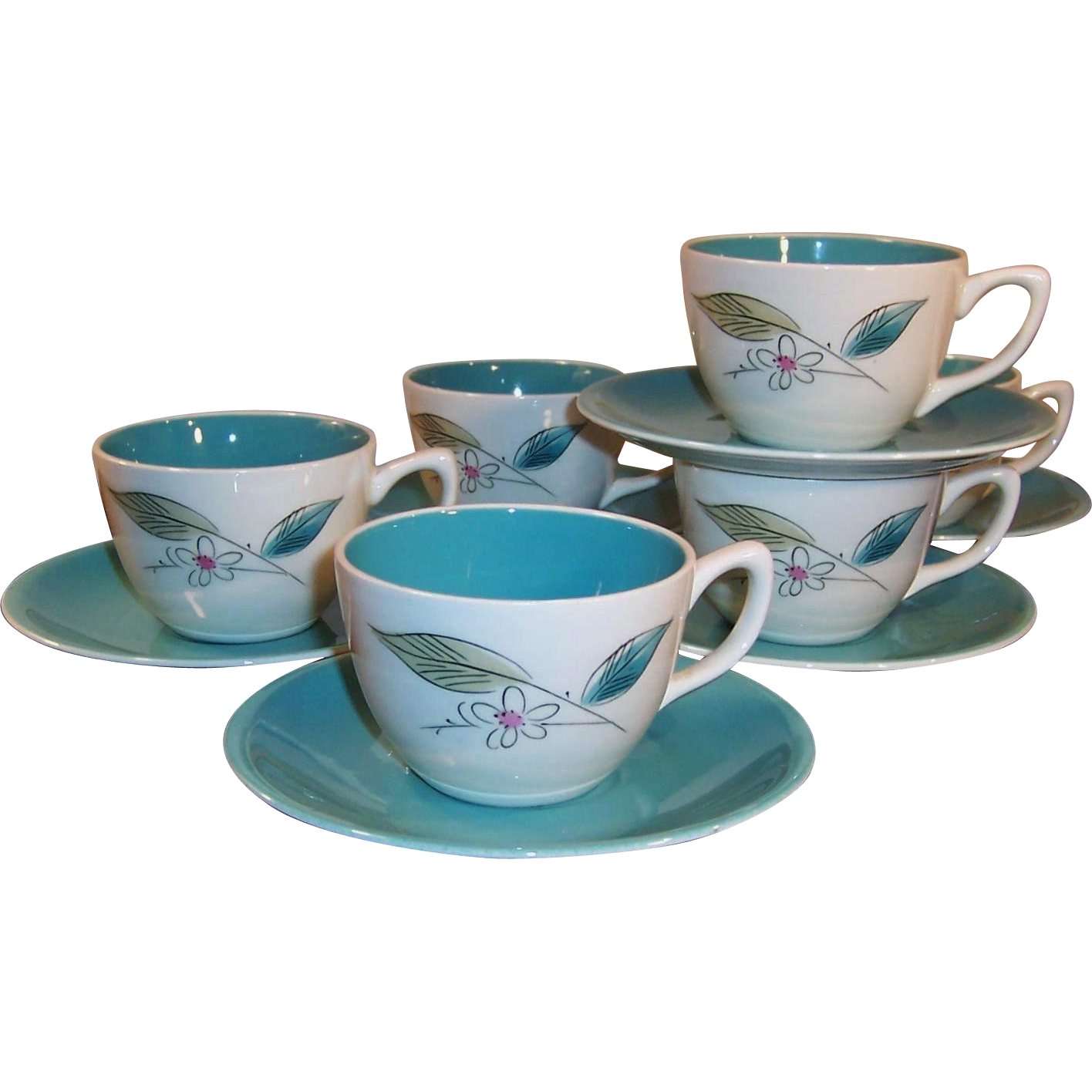 (Temporary Price Reduction)  Set of SIX: 1950's Paden City Biscayne Cups Saucers