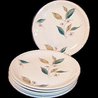 "Set of SIX: 1950's Paden City Biscayne 10"" Dinner Plates"