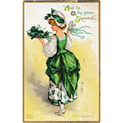 Antique Ellen Clapsaddle St. Patrick's Day Shamrock Lady Postcard