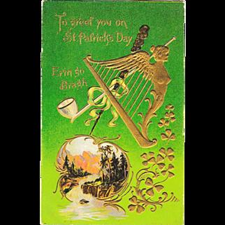 St. Patrick's Day Golden Harp Mountain Stream Vintage Postcard