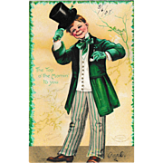 Ellen Clapsaddle St. Patrick's Day Postcard Irish Man Tipping His Hat
