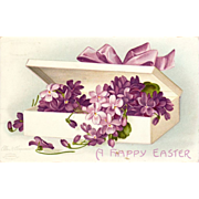 Ellen Clapsaddle Signed Easter Violets Postcard