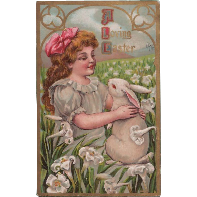 Antique Easter Postcard Girl & Bunny in Field of Lilies