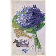 Antique Hydrangea Easter Postcard