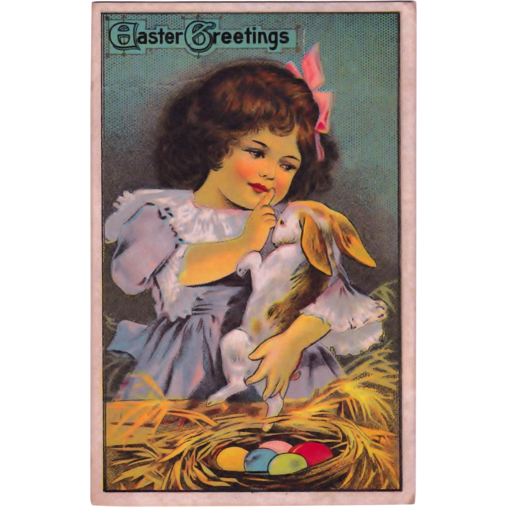 "Antique ""Easter Greeting"" Maternal Little Girl & Bunny Rabbit Postcard"