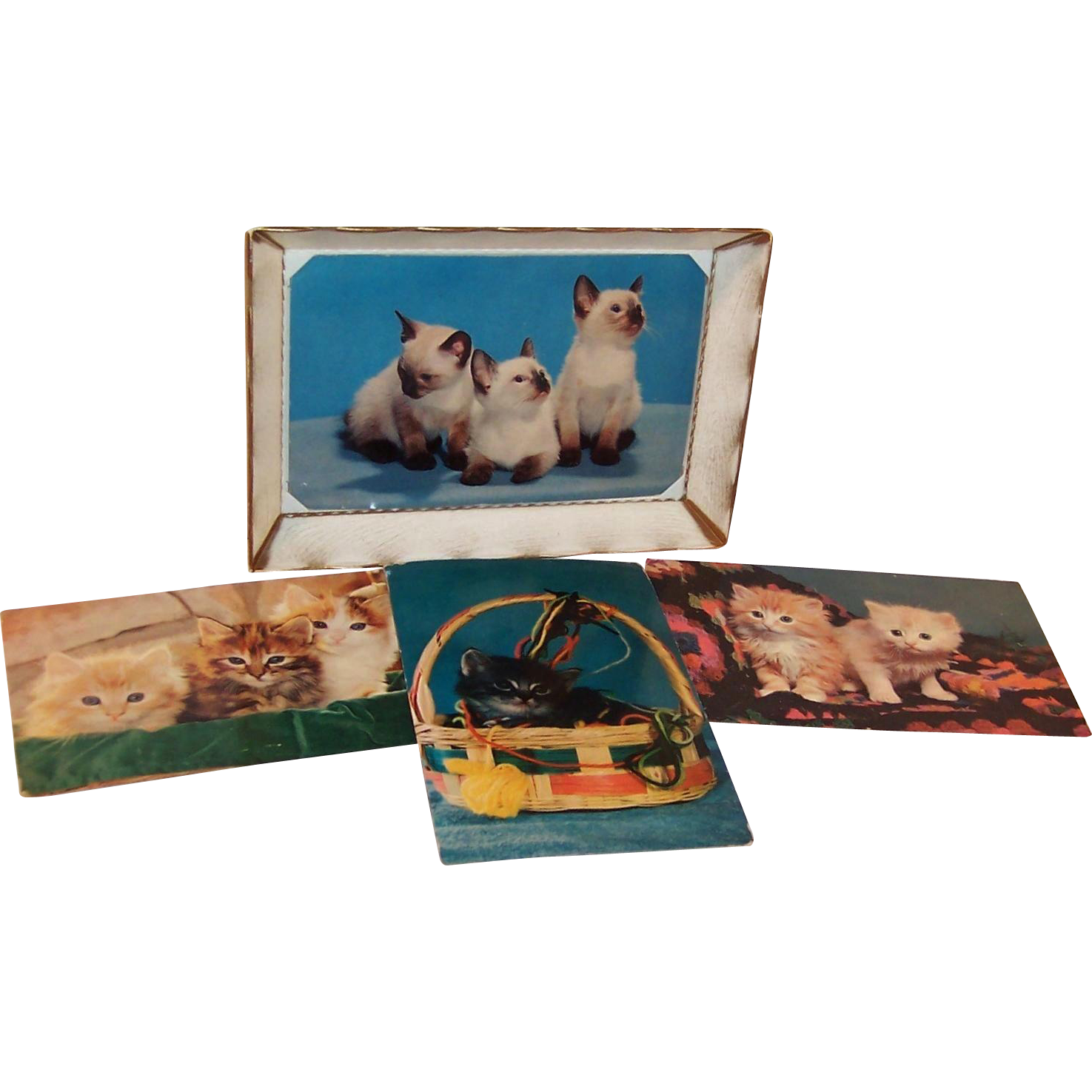 Mid Century Plastic Postcard Frame with 4 Kitten Postcards