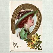 Lucky Lady Vintage Postcard