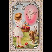 "Antique 1910 E. Nash Embossed ""Easter Greetings"" Fantasy Eggs & Rabbits Postcard"