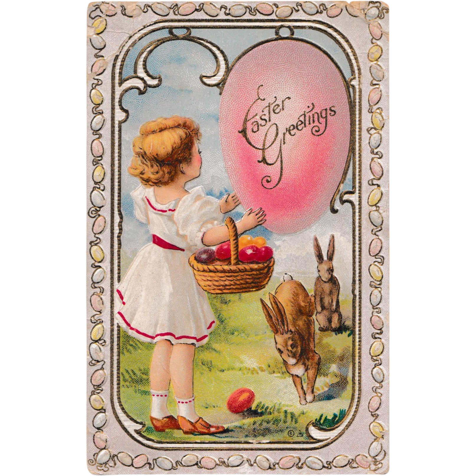 "Antique 1910 E. Nash Embossed ""Easter Greetings"" Fantasy Eggs & Rabbits Postcard"