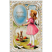 "Unused Antique 1910 E. Nash Embossed ""Easter Offering"" Fantasy Eggs & Rabbits Postcard"