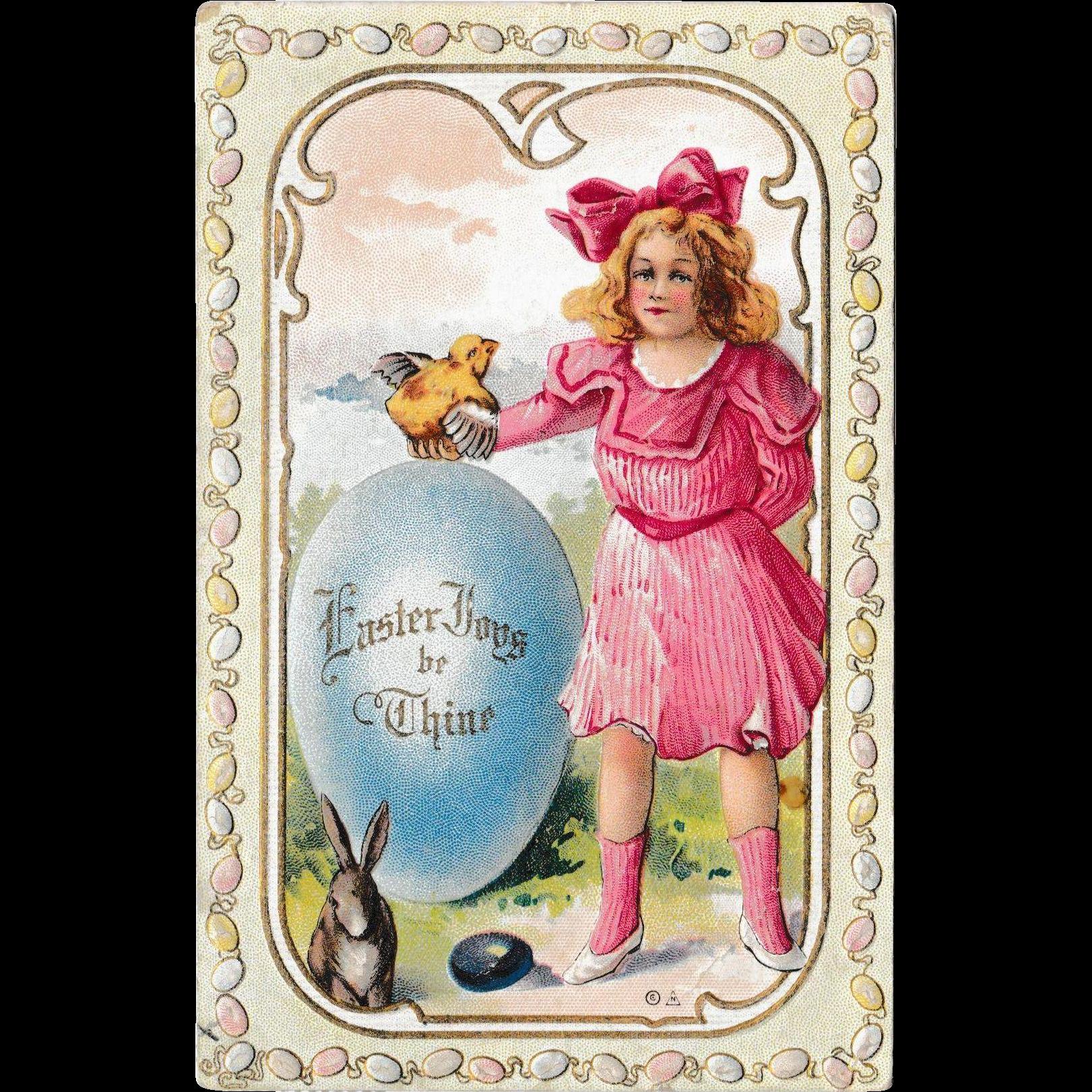 """Antique 1910 E. Nash Embossed """"Easter Joys"""" Fantasy Postcard"""