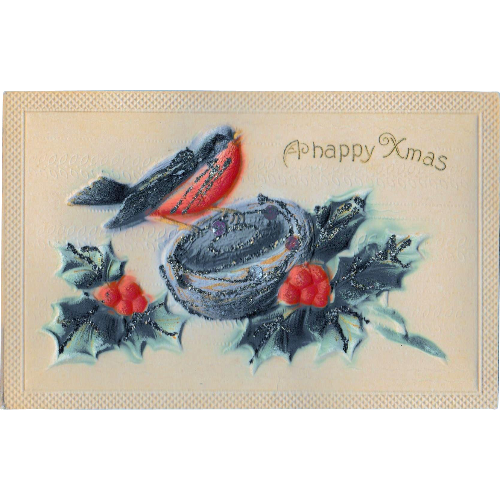 Antique Samson Brothers Puffy Christmas Postcard