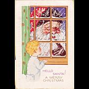 Vintage 1920's Christmas Postcard Santa Peeking in Window - Red Tag Sale Item