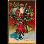 Antique Glossy St. Nicholas / Santa Claus Postcard