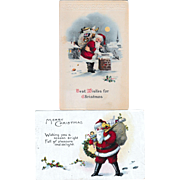 (Two) Vintage Santa Claus Postcards