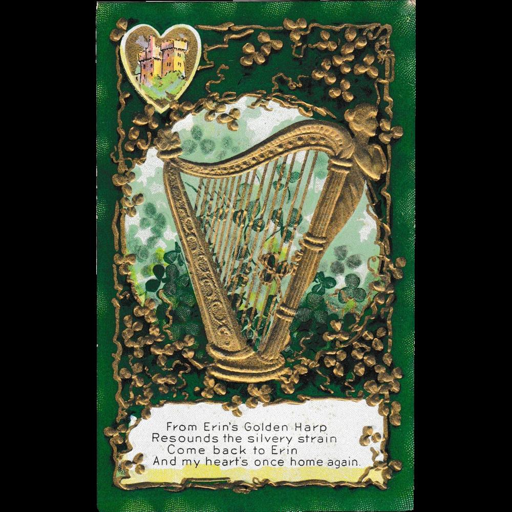 early 1900 39 s st patrick 39 s day erin 39 s golden harp postcard. Black Bedroom Furniture Sets. Home Design Ideas
