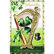 Antique Embossed St. Patrick's Day Postcard:  The Harp of Erin