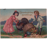 Cute Kids in Period Attire Antique Thanksgiving Postcard