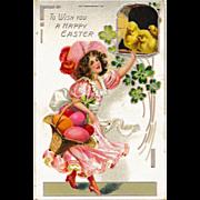 Antique Raphael Tuck & Sons Easter Postcard Lovely Brunette in Frilly Pink Dress