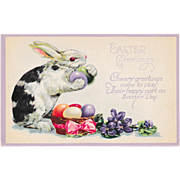 Unused Antique Easter Bunny & Eggs Fantasy Postcard