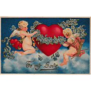 Antique Cupid Valentine Made in Germany