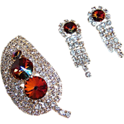 Ravishing Rivoli & Rhinestone Leaf Brooch & Earrings