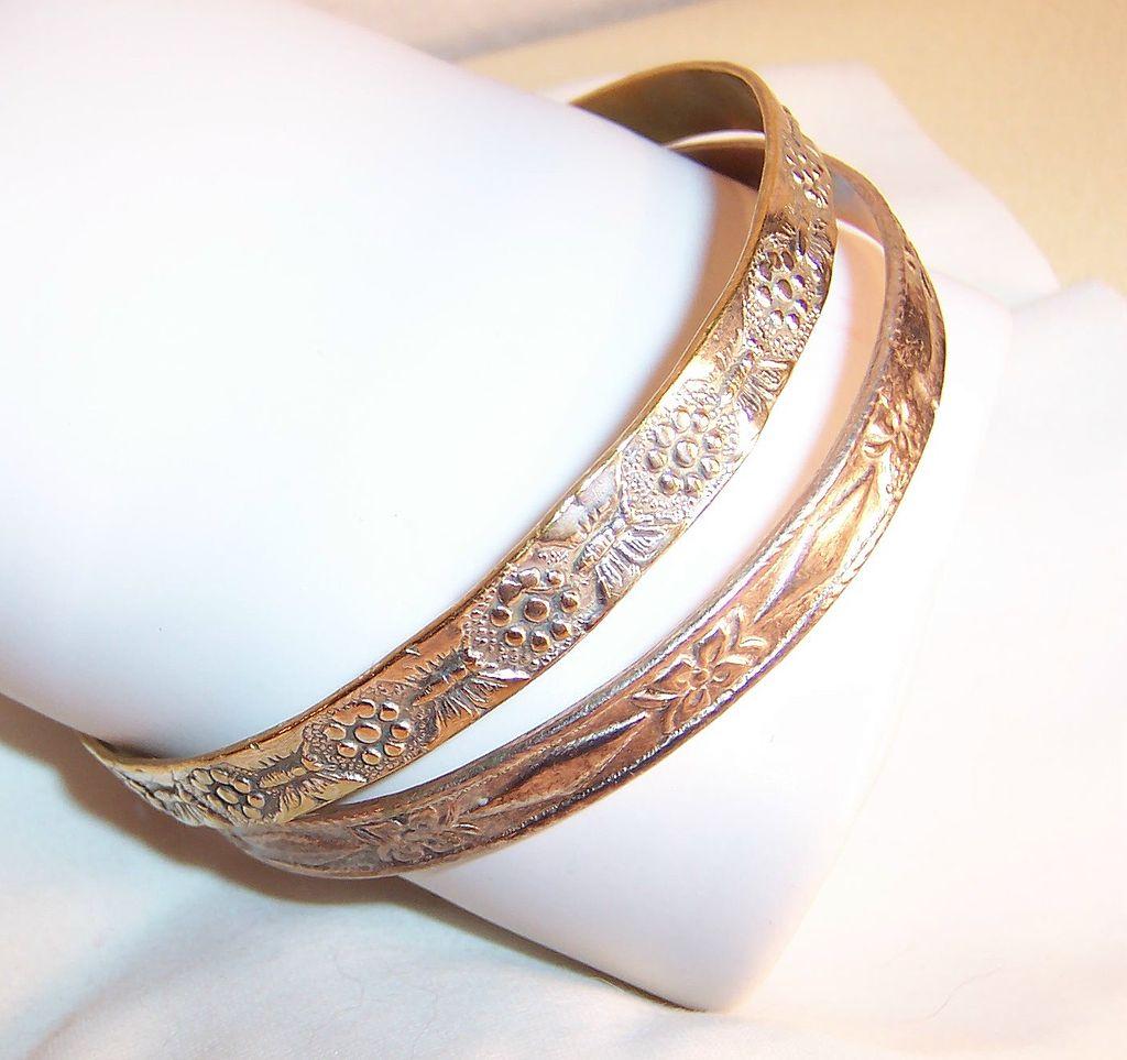 Mexico & Taxco Mixed Metal Silver Bangle Bracelets
