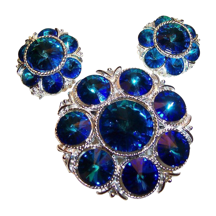 Splendid Sapphire Blue Rivoli Brooch & Earrings Set