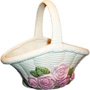 "Vintage Pink Rose ""Woven"" Pottery Basket...pretty for Easter!"