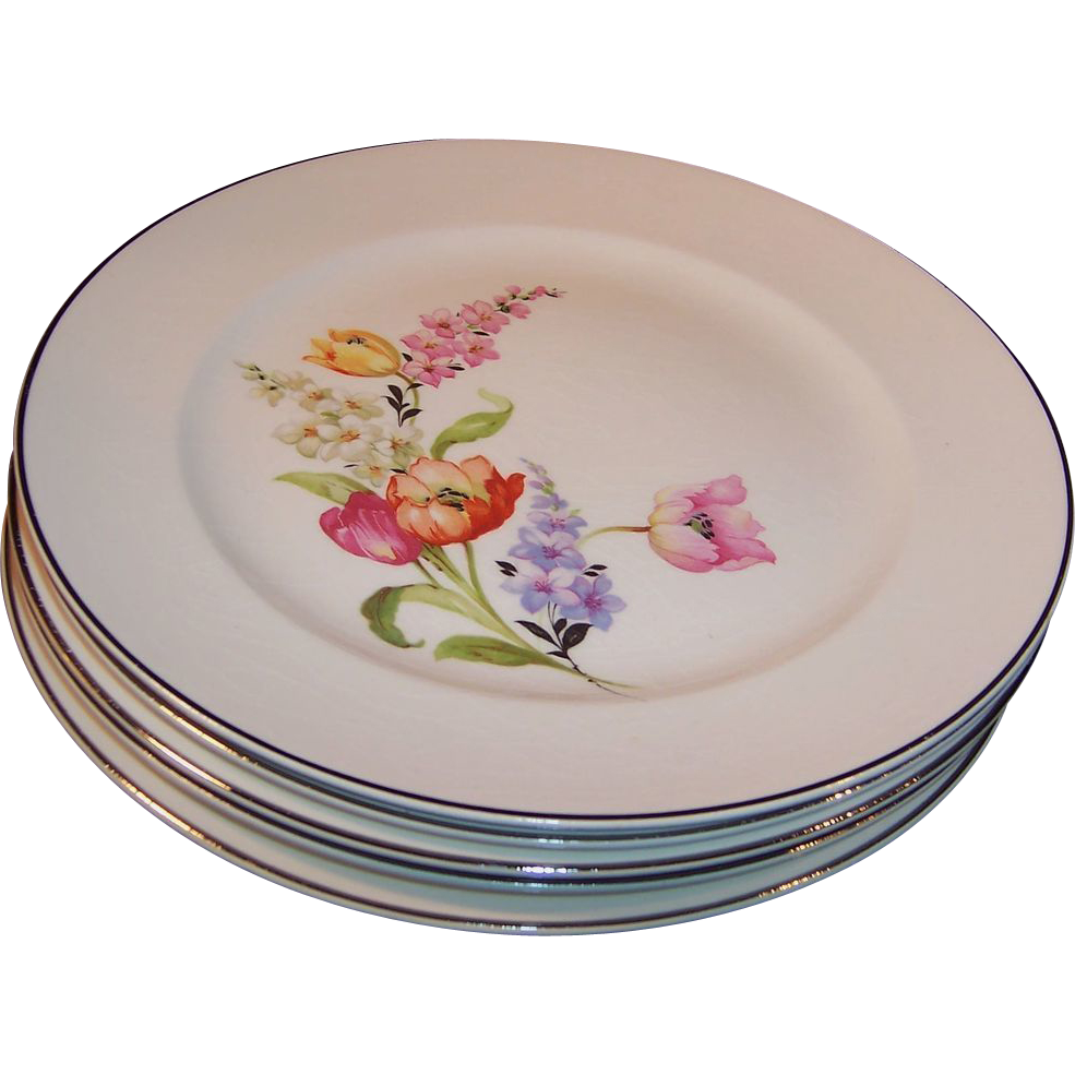 HOT Summer Sale!  FIVE: Pope Gosser China Flanders Dinner Plates  (Tulip, Poppy, Snapdragons)