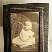 "Vintage Smiling Baby Photograph ~  Embossed Easel Frame 8"" x 6"""