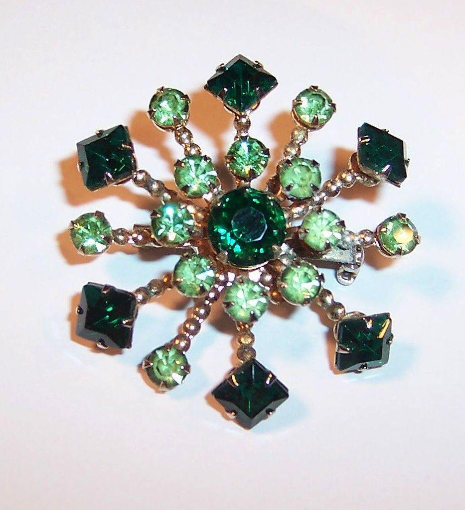 Vintage Sparkling Green Rhinestone Pin
