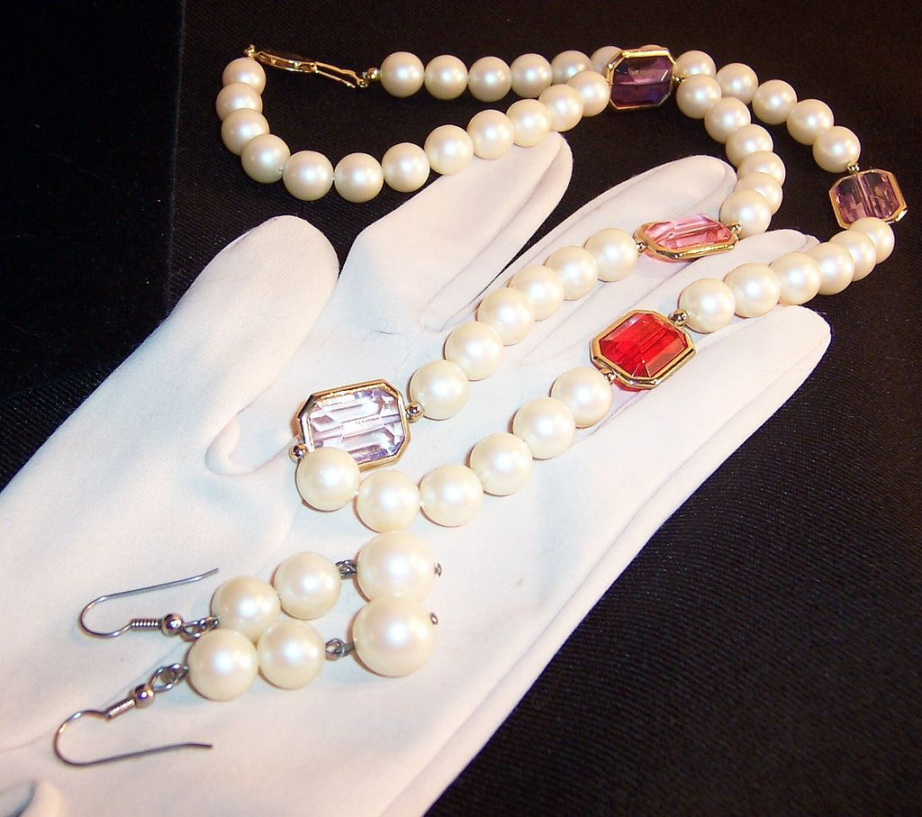 Pastel Faceted Glass & Simulated Pearls Necklace & Earrings