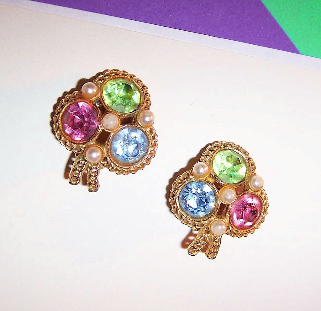 Festive Tricolor Kramer Rhinestone Clip Earrings