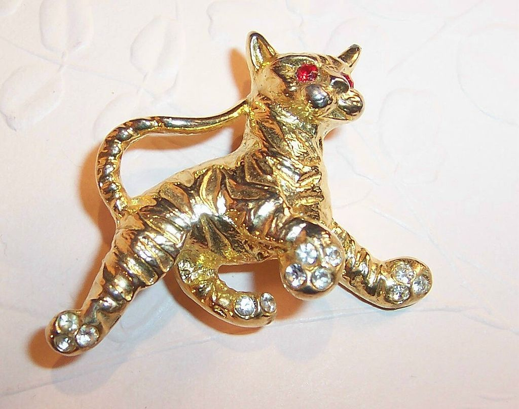 M. Jent  Rhinestone Tiger Kitty Pin