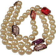 1950's Creamy String of Simulated Pearls with Faceted Framed Glass