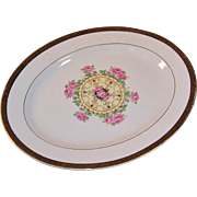 "Vintage 1930's ""Union Made"": Southern Rose Platter, Embellished 22K Gold Leaf Trim"
